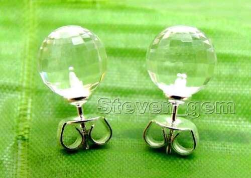 8 Mm Rond Blanc Naturel Facette Cristal Boucles D/'oreilles Pour Femmes Argent S925 Clou ea436