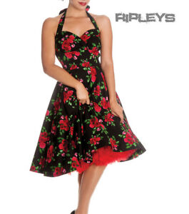 HELL-BUNNY-50s-DRESS-Flowers-CANNES-Rockabilly-Pin-Up-BLACK-Floral-All-Sizes