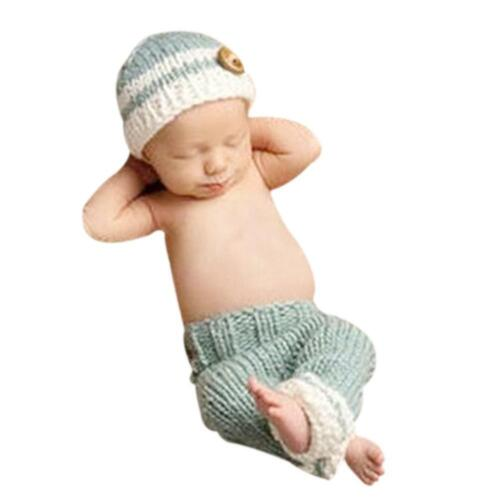 Newborn Baby Knit Clothes Hat Photo Crochet Costume Photography Prop Outfit LOT