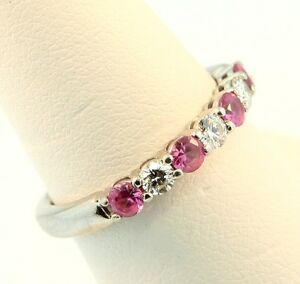 18K-White-Gold-Diamond-amp-Pink-Sapphire-Seven-Stone-Eternity-Ring-0-50cts-2-5MM