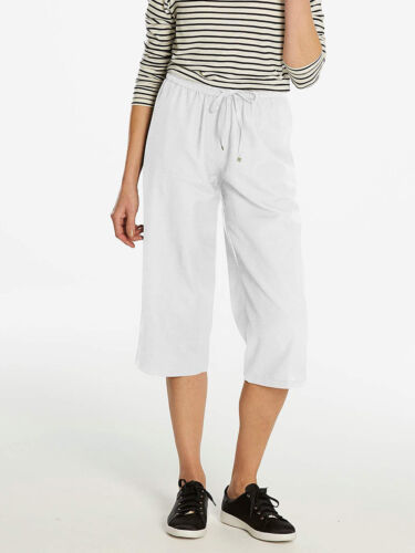 NEW ex Anthology WHITE Linen Blend Slouch Cropped Trousers sizes 16 18 24