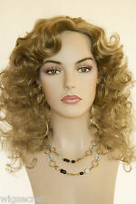 Gold Blonde  Light Gold Brown Frost Blonde Long Medium Curly Skin Top Wigs