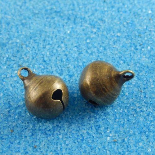 70pcs laiton antique bronze petit Bell Avec Sons Artisanat Bijoux Accessoires