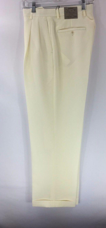 Pacelli Men's Ivory Dress Pants 2-Pleats Unfinished Hem Size 62 Baggy Fit