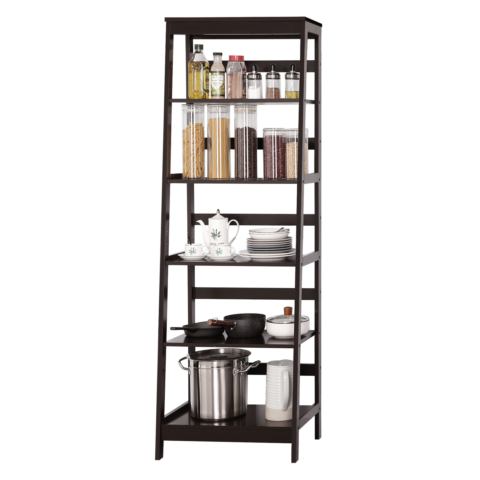 Ladder Bookcase Bookshelf Kitchen Office Storage Display Leaning Wall Shelves