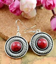 Nice New Tibetan Silver Artesian Crafted Red Round Disc Dangle Drop Earrings