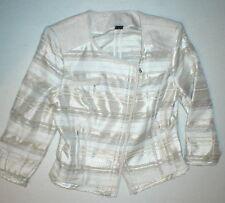 New Womens 6 White House Black Market Moto Jacket White Beige Silver Zipper Suit