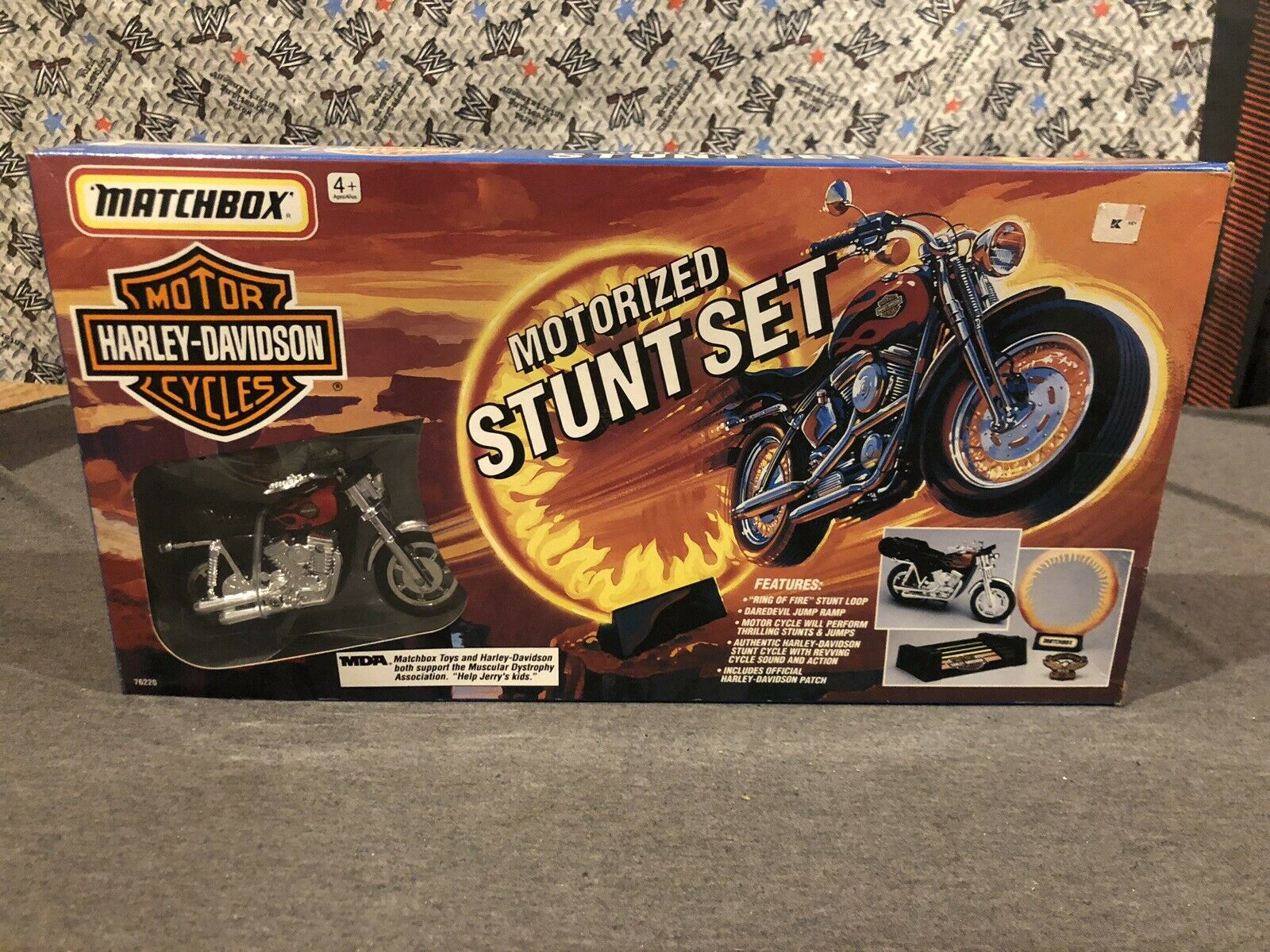 Matchbox Harley-Davidson motoriserat stunt Set Ring of Fire Motorcycle Eagle Patch