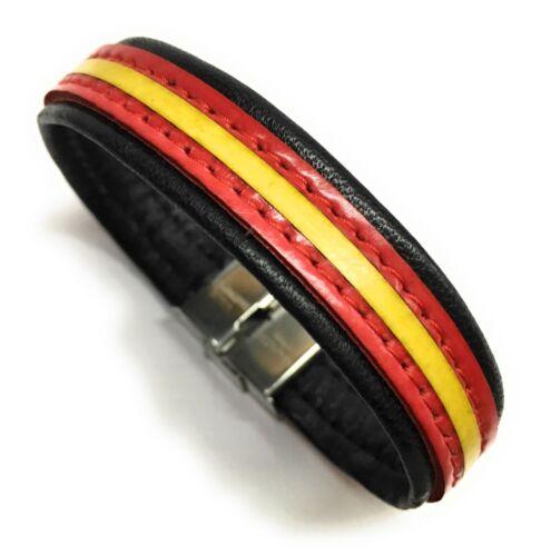Pulsera De Piel Bandera España Disponible En Varios Colores PRODUCTO ARTESANO