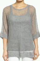 Eileen Fisher Dark Pearl Rustic Linen Cotton Bateau Neck Tunic M $218