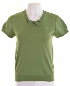 Wrangler-Damen-Graphic-T-Shirt-Top-Groesse-10-Small-gruen-Baumwolle-u101