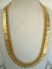South Indian Traditional Jewellery Green stone Lakshmi Kasu mala with earring G