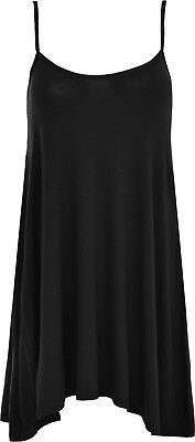 Ladies Camisole Cami Flared Skater Womens Strappy Vest Top Swing Mini Dress 8-22