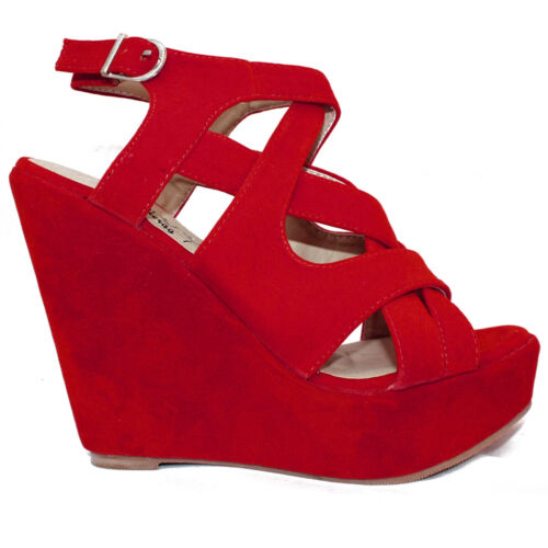 NEW GIRLS WOMENS PLATFORMS STRAPPY SANDALS SUEDE LEATHER HEELS WEDGE SIZES 3-8