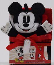 Disney Mickey Mouse 2 Piece Bath Set Red Bath Towel & Wash Mitt NIP