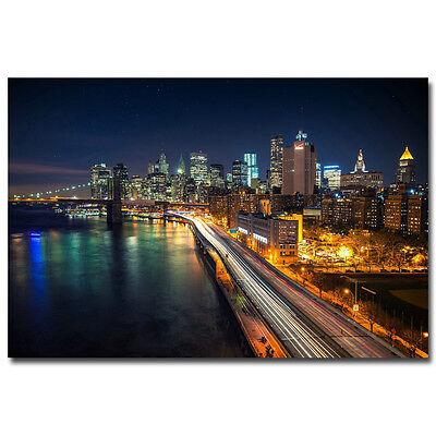 "New York City Night Cityscape Art Silk Poster 24X36"" Brooklyn Bridge East River"