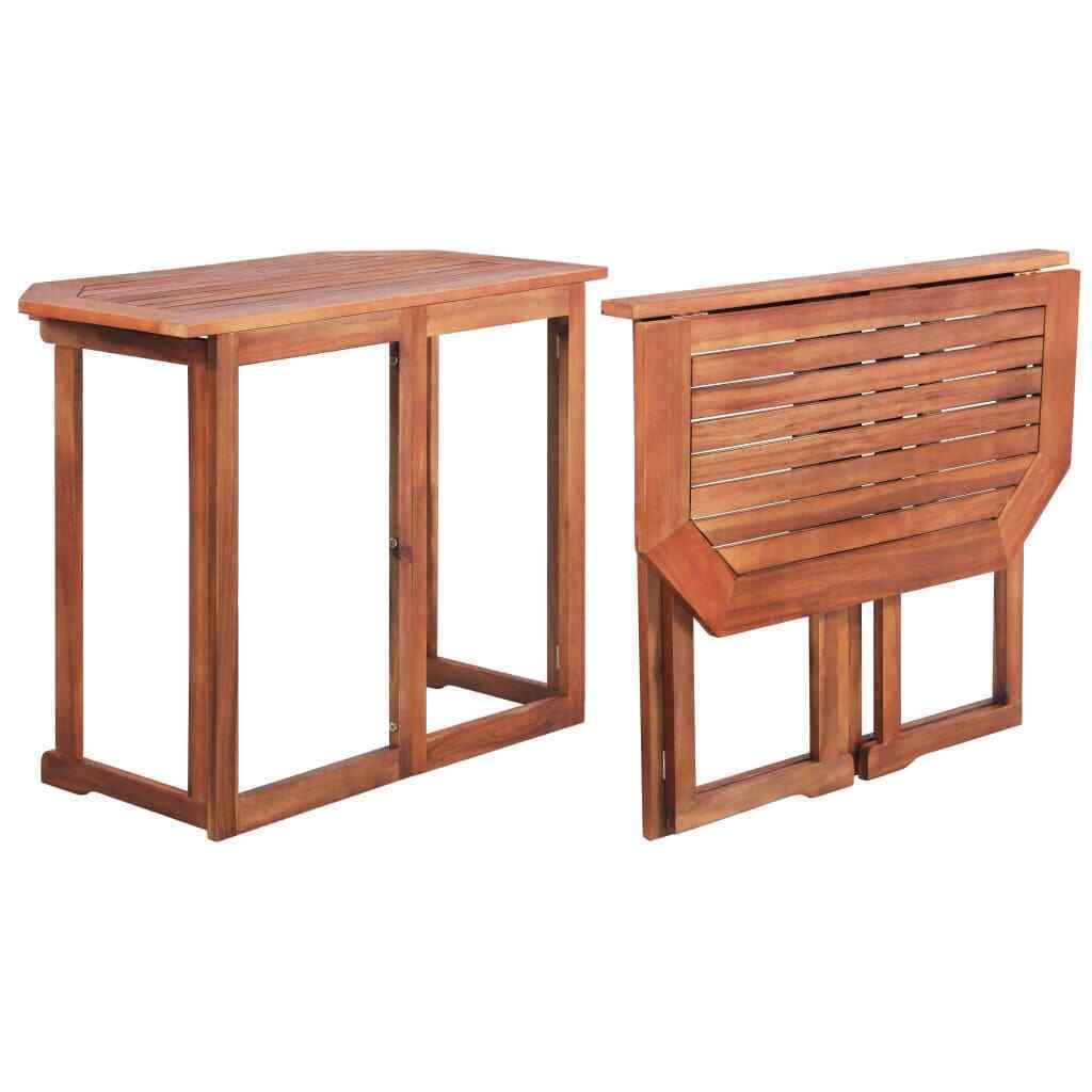 vidaXL Madera Maciza de Acacia Mesa Plegable para Balcón Mobiliario de Terraza
