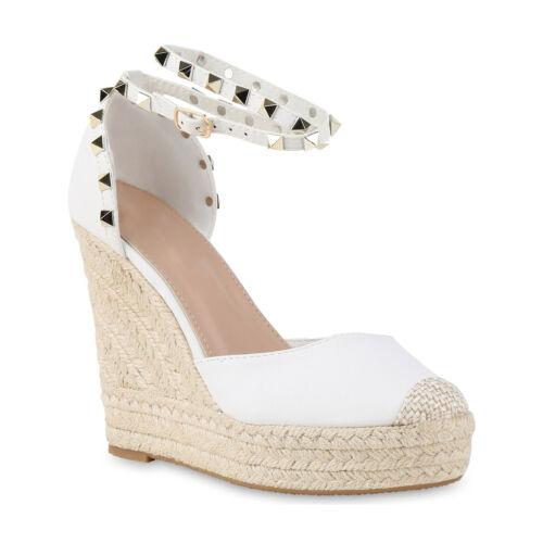 Damen Sommer Pumps Keilabsatz Wedges Sandaletten Bast Nieten 815804 Schuhe