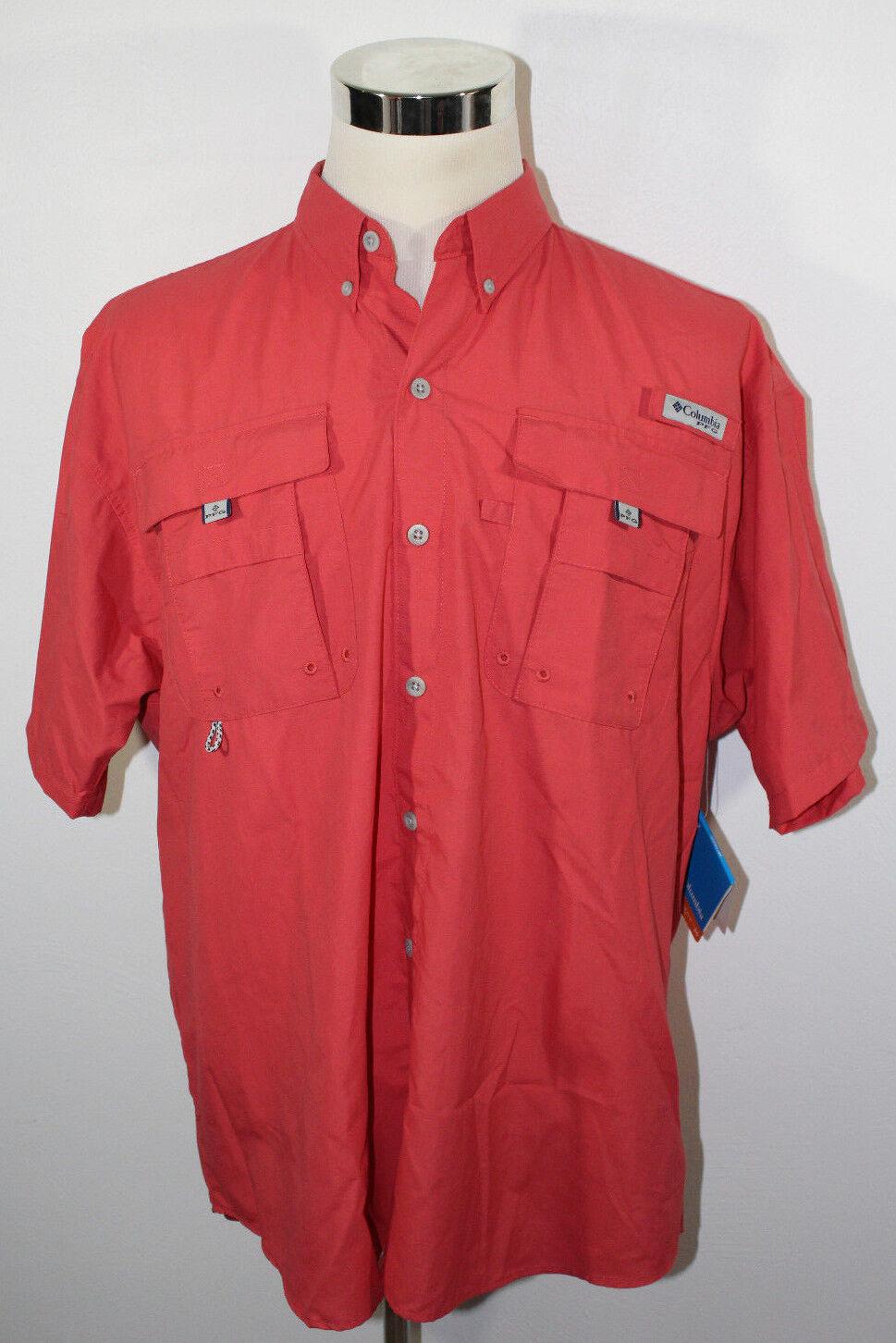 NWT Columbia PFG Performance Fishing Gear Red Salmon Button Up Shirt Sz Large