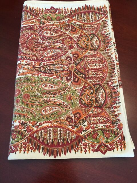 Pottery Barn Table Runner Rust Gold Cream Paisley Floral