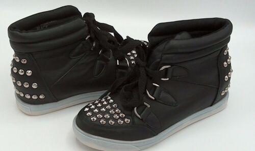Taille 3 To 4 Noir Blanc Argent Stud dissimulée compensé Baskets Montantes Bottes Chaussures