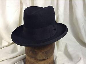 Image is loading Vintage-Court-Homburg-Hat-Wide-Grosgrain-Ribbon-BLack- 16166ee7378