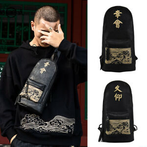 Janpanese-Chinese-Embroidery-Character-Sling-bag-Chest-Pack-One-Strap-Backpack