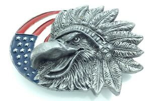 Belt-Buckle-America-Eagle-Flag-Star-Stripes-Liberty-Indian-Chief-Head-Dress-J605