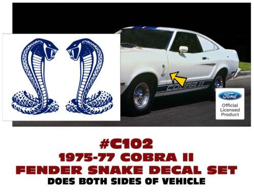 COBRA II LICENSED DIE CUT SP C102 1975-77 MUSTANG FENDER SNAKE DECAL SET