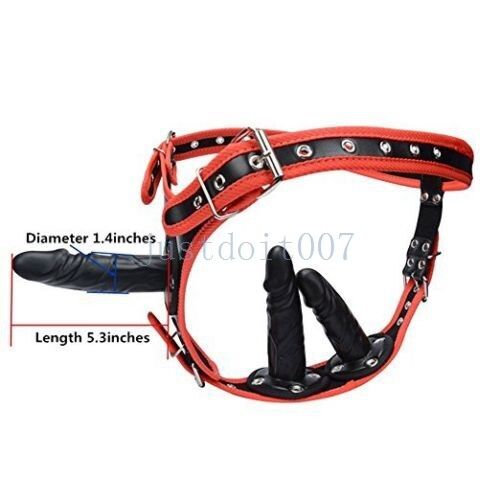 Triple Plug PU-Leather Strap on Ultra Harness Women TO Man Female Panties new