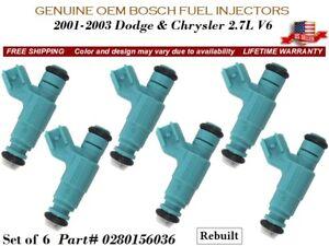 OEM Bosch Fuel Injectors Set 6 0280156036 for 01-03 Chrysler Dodge 2.7L V6
