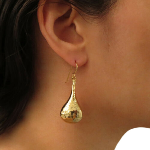Gold Plated 925 Sterling Silver Hammered Teardrop Earrings