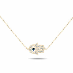 14k Rose Yellow or White Gold Evil Eye Pendant with Diamonds 0.16CT No Chain.