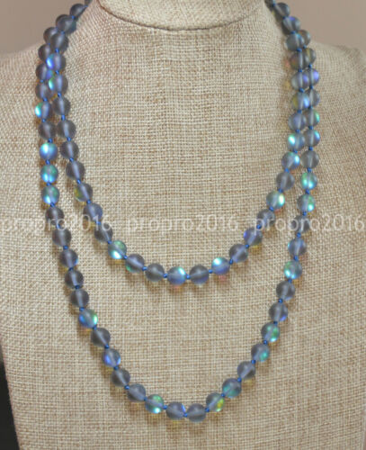 18-60Inch Natural 10mm Gray Gleamy Rainbow Moonstone Round Gems Necklaces PN1469