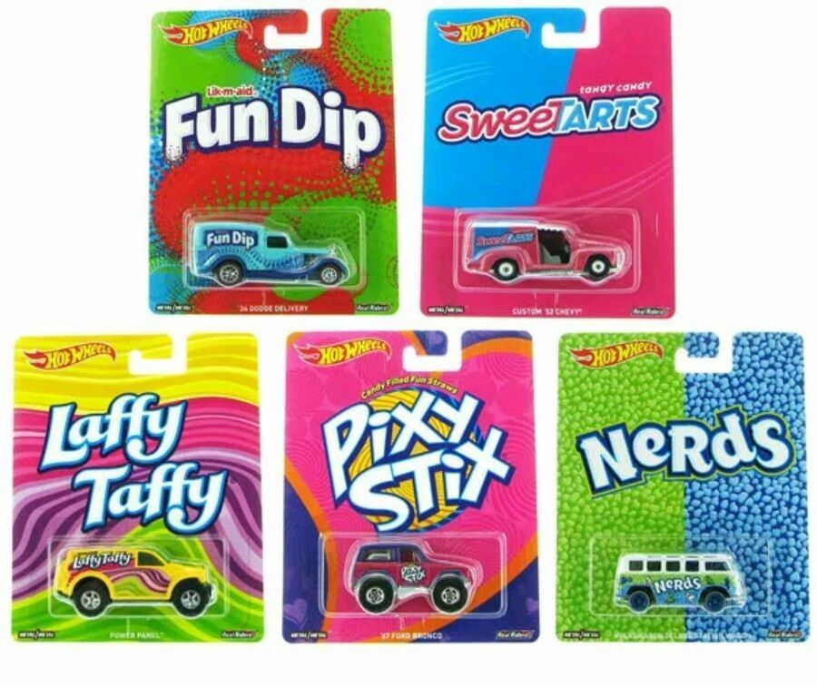 1 64 2016 Set Of 5 Hot Wheels Pop Culture Candy Fun Dip, Nerds, Laffy Taffy, Pix
