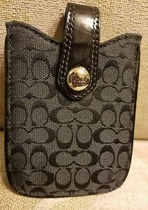 COACH Signature Phone/ Cards Pouch /Case/Sleeve - Black Bag NEW