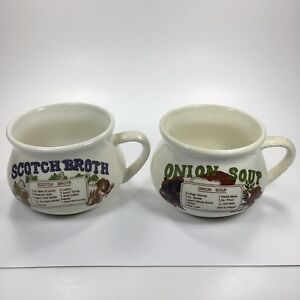 Vintage Soup Bowls Mugs With Recipes Lot Of 2 Scotch Broth