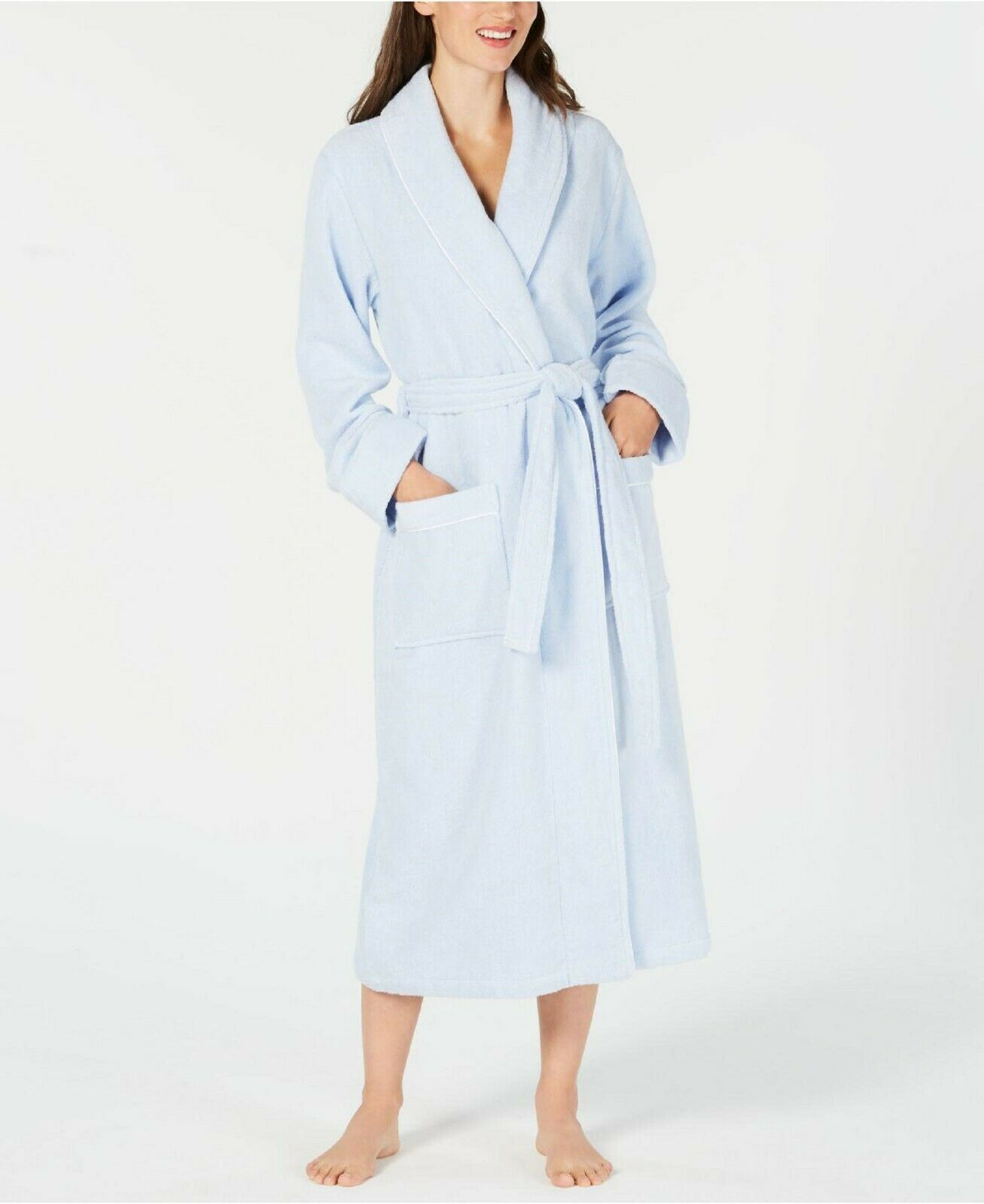 Charter Club Luxe Terry Piped Long Wrap Robe 100034530 bluee Alder Large