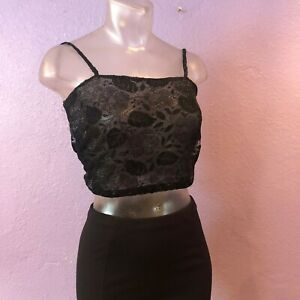 8492e539a35 Vintage Early 90 s Couture KRIZIA Black Sheer Lace Crop Tank Top 40 ...