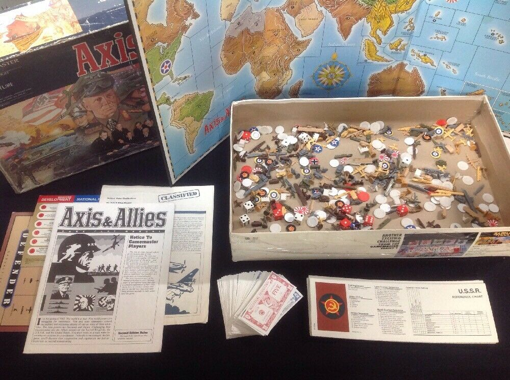 Axis And Allies MB Gamemaster Series Parts Box -Inc. Rules & Clarification Sheet