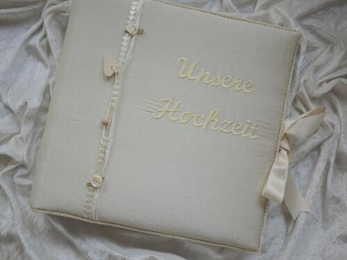 Foto-Gästebuch Taft Wunschname creme Fotobuch zur Hochzeit Hochzeitsalbum