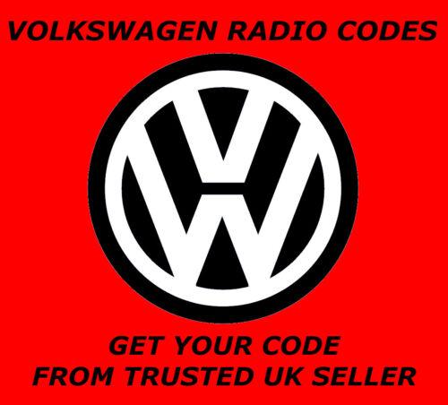 Código de radio VW VOLKSWAGEN códigos de desbloqueo EstéreoRCD 310 300 200 210 RNS 315