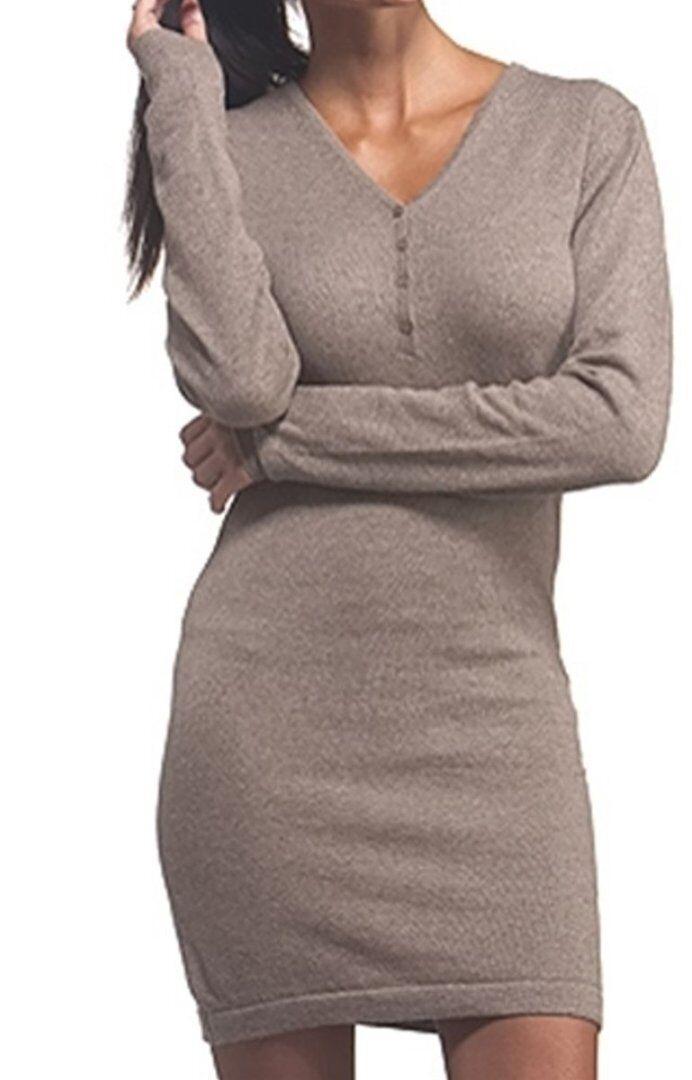 Balldiri 100% Cashmere Damen Kleid V-Ausschnitt  2-fädig naturbraun meliert L