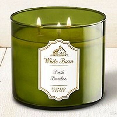 NEW BATH /& BODY WORKS FRESH BAMBOO SCENTED CANDLE 3 WICK 14.5 OZ LARGE GREEN