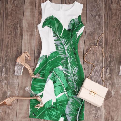 Fashion Vintage Boho Women Summer Sleeveless Beach Printed Loose Mini Dress New