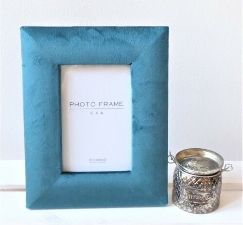 "Velvet Photo Frame ~ Dove Grey Blush Pink ~ 6 x 4/"" Teal Blue"