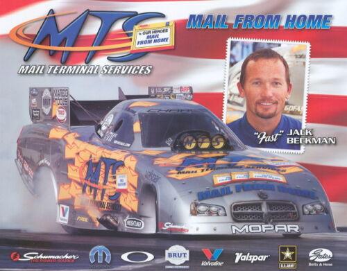 """2007 Jack Beckman MTS /""""Red Background/"""" Dodge Charger Funny Car NHRA postcard"""