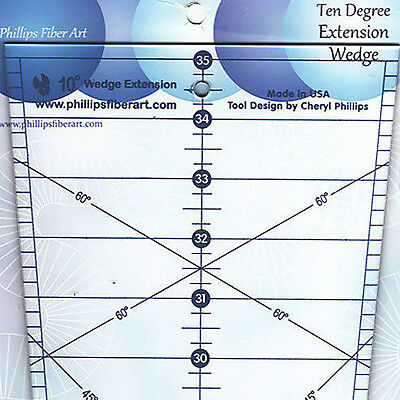 """Phillips 10 DEGREE 25/"""" WEDGE Quilt Ruler 36 Wedges = 50/"""" Circle Angled Designs"""