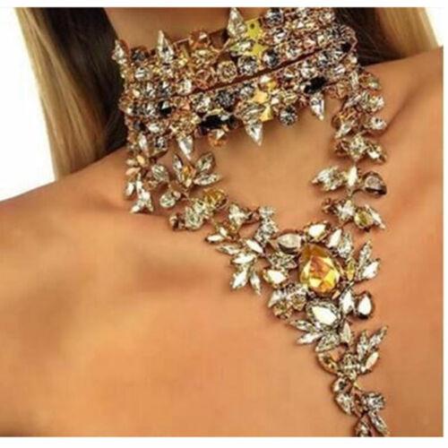 Luxury Crystal Rhinestone Long Pendant Statement Bib Chunky Choker Necklace