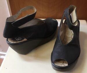 Fly-London-Yala-Gray-Leather-Peep-Toe-Wedge-Sandals-Shoes-Women-039-s-Size-38-7-5